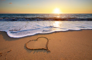 29661339 - heart on beach. romantic composition.