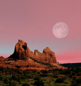 49155530 - moonrise red rock country mountains surrounding sedona arizona